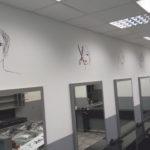 fodrászüzlet dekorációs falfestmény
