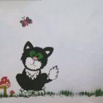 Postás Pat Jess macska falfestmény