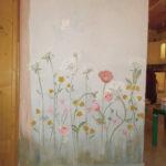 romantikus pasztell falfestmény virág fa